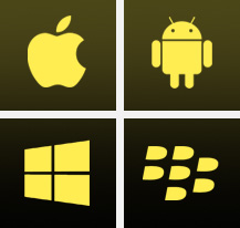 APPLE, ANDROID, WINDOWS PHONE,BLACKBERRY